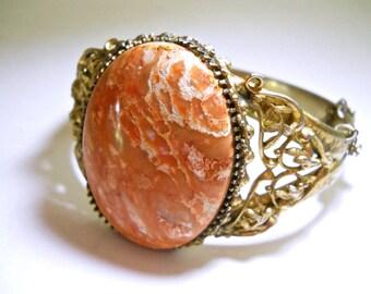 WHITING & DAVIS Peach Agate Bracelet, Hinged, Art Nouveau Scroll Filigree, Vintage