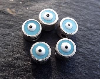 5 Mini 5mm Sky Blue Lucky Evil Eye - Matte Antique Silver Plated