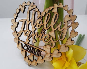 x 50 Laser cut save the date wooden heart wedding invite