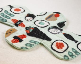"""Reusable Cloth Pad - 9.5"""" Moderate - Happy Sushi Flannel"""