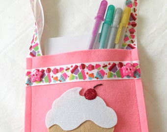 Cupcake Mini Project Bag; project bag; felt bag; pink felt mini bag; mini project bag; birthday