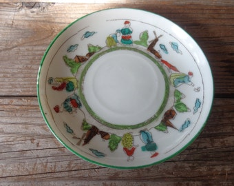 Vintage Dutch Inspired Porcelain Trinket Dish, Hand Painted, Made In Japan, 1940's - Dutch Inspired Small Plate - Small Vintage Dish
