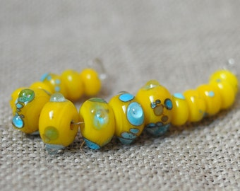 15 pcs Yellow Colors Beads Set Spacers Rondelle - handmade glass lampwork beads
