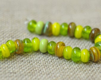 24 Green Yellow Handmade Lampwork Spacers Multicolor Mix Beads