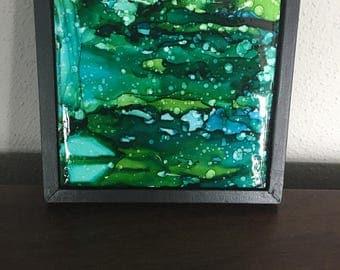 alcohol ink tile in wood frame