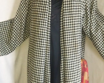 1980's Black and White Checked Wool Coat
