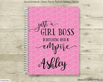 A Girl Boss Building Her Empire Pink Monogram Personalized Spiral Notebook Back to School Notebook Red Yellow Blue Orange Purple
