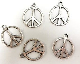 25 Pc Peace Sign Charms 21mm, Antique Silver Finish Pewter, Peace charms, silver charms - PP101