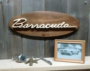 Plymouth Barracuda Emblem Oval Wall Plaque-Unique scroll saw automotive art created from wood for your garage, shop or man cave.