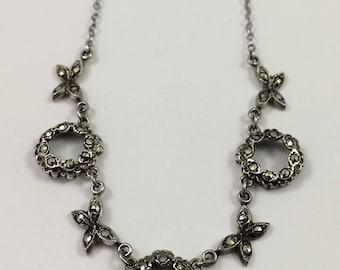 Delicate Vintage Sterling Marcasite Necklace Circa 1930 - 1940