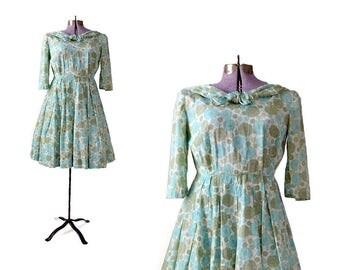 1950s Dress, Mint Green Dress, 50s Dress, Large Dress, 1950s Clothing, 1950s Vintage Dress, Womens 1950s Dress Floral Dress Petite Dress