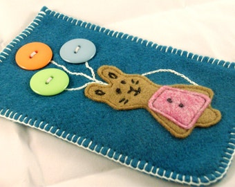 Felt Gadget Case, felt iphone 6 case, samsung galaxy s6 case, rabbit case, felt phone cover, felt rabbit, rabbit pouch, phone sleeve