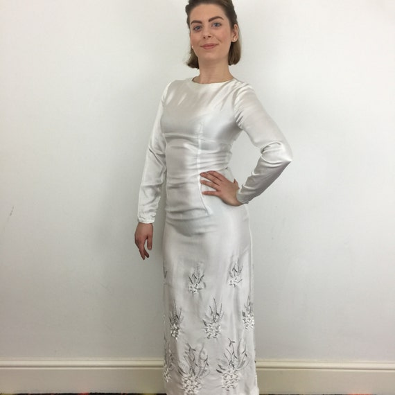 1960s vintage wedding dress white satin shift long gown embroidered silver flowers classic simple sleek UK 6 petite 60s Mod long sleeves