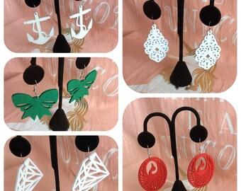 Large Wooden Earrings - Large Drop Earrings - Light weight Boho