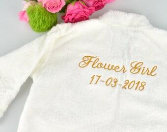 Embroidered Flower Girl Bathrobe