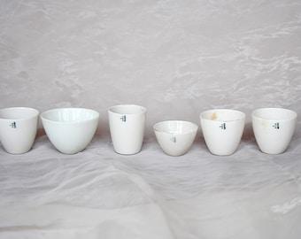 Vintage Chemistry Equipment - White Decor - Vintage Lab Equipment - White Ceramic Bowls - Miniature Laboratory - Vintage Science Decor