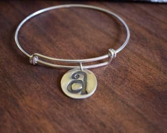 Sterling silver wire expandable bracelet with fine silver initial charm