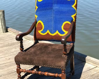 Restored custom rustic accent arm chair