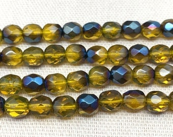 25 Gold Czech Glass Beads Azure Faceted Firepolished 6mm