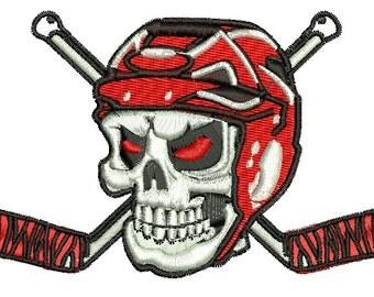 Skull in helmet and hockey sticks Machine Embroidery Design