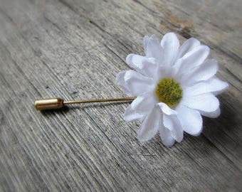 White Daisy Pin, Daisy Brooch, Daisy Boutonniere, Daisy Lapel Pin, Daisy Hat Pin, Stick Pin, Daisy Jewelry, Mens Wedding Prom Boutonnieres