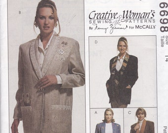 McCalls 6698 Vintage Pattern Womens Unlined Jacket in 4 Variations Size 14 UNCUT