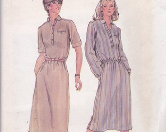 Butterick 3651 Vintage Pattern Womens Semi Fitted Pull Over Dress in 2 Variations SIze Small UNCUT