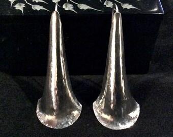 Elongated Trumpet Form Earrings in Sterling Silver