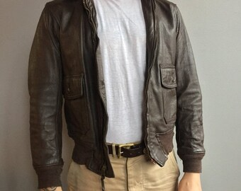 SALE U.S. Navy G-1 Brown Leather Flyers Jacket with Mouton Collar. (Size 40)
