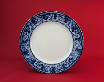 Flow Blue and White Ford and Sons Serving Dish Plate Dinner Antique Neo-Classical English circa 1910 LS Fruit Floral Scroll Edwardian