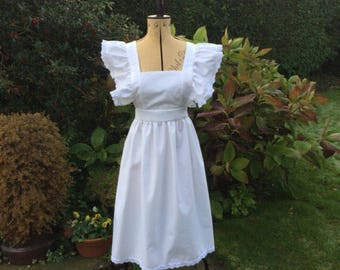 """Adults White """"Alice"""" Victorian style pinafore apron broiderie anglais trim"""