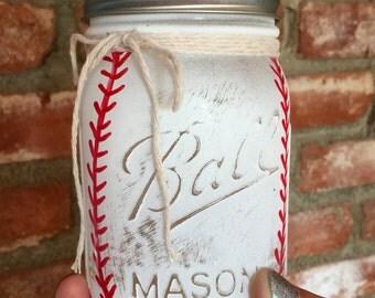 Baseball Mason Jars // Sports themed //Baby Shower // Birthday Party // Home Decor // Vases
