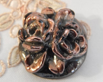Floral Roses with Shiny Copper Metalization Finish