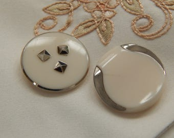 Milk White Vintage Buttons with Silver Luster Designs - 2