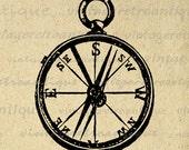 Printable Image Antique Compass Graphic Illustration Digital Download Vintage Clip Art Jpg Png Eps  HQ 300dpi No.1313