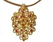ON SALE Statement Necklace, Pendant Necklace, Gold Necklace, Gold Collar Necklace, Gold Filigree, Filigree Pendant, Pearl Pendant, Gift for