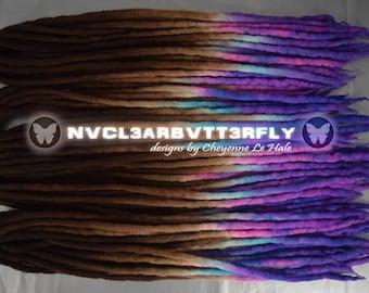"Wool Dreads - 40DE ""Autumn Dreams"" Dreadlocks - 18""- 21"" (Total Length = 36""- 42"") Auburn Brown to Pink Violet Turquoise Hair Extensions"