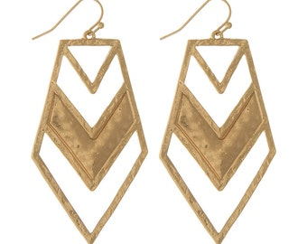 Gold Hammered Cheveron Arrow Tribal Ethnic Post Earrings