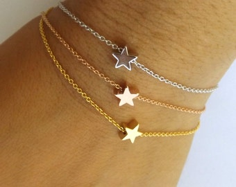 Star Bracelet-,girlfriend gift, wife gift, tiny star bracelet, bridesmaid gift, wedding jewelry, rose gold gold silver star bracelet