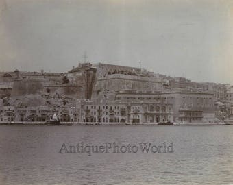 Malta fort view shops boats ships antique photo