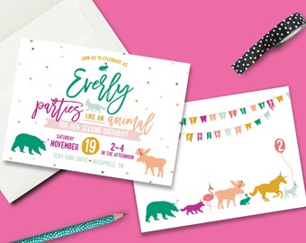 Party Like an Animal Birthday Party Invite - PRINTED