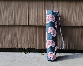 Yoga Mat Tote Bag Gray Orange Paisely Pilates Mat Bag Fitness Mat Tote Cotton Twill