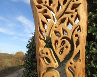 Handmade Wooden Mirror, Tree Carved Mirror, Custom Designed Mirror,  Cedar Framed