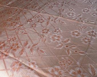 Antique Peachy Rose, Rayon Satin, Hollywood Regency Bedspread, Very Silky, Scalloped Edge