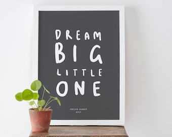A4 Dream Big Little One Personalised Print - nursery print - child's bedroom print - baby gift - children gift