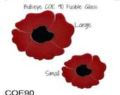 Spring Sale Bullseye COE 90 RED POPPY Flower Precut 5pc Fusible Glass Choice Fusing Supplies