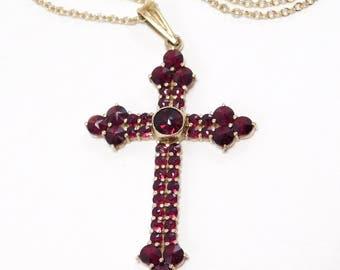 Rose Cut Bohemian Garnets Vermeil Cross Pendant