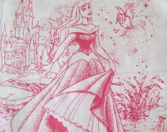 HTF Disney Princess Pink Toile Bed Sheet Set TWIN Size Flat Fitted 2 Piece Sleeping Beauty Aurora Kids Bedding Canada Clean Used
