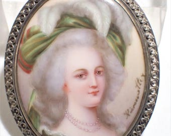 Porcelain Hand Painted Portrait of Marie Antoinette Artist Signed Sterling Frame