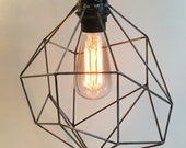 Geometric lighting, pendant light, plug in pendant, fabric cord, edison light bulb, swag light, indistrial cage light, asymmetric lighting